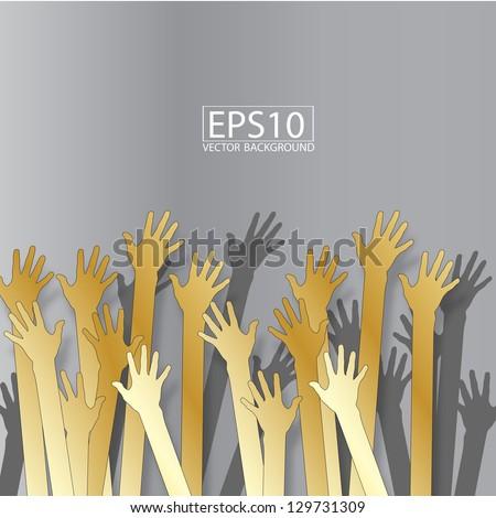 gold hands vector background - stock vector