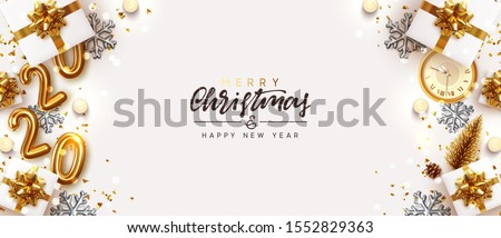 Gold 2020 Happy New Year. Decorative Christmas Ornament, realistic gift boxes, 3d snowflake, Xmas ball, lush pine tree. Glitter golden confetti, old clock. Holiday decoration. Decor Border from object