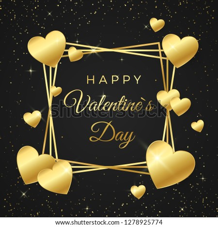 Gold heart and frame with text on white background. Concept for Valentines banner. Happy Valentines day greeting card. Vector illustration isolated on black background #1278925774