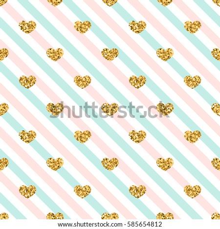 gold heart seamless pattern