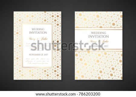 Gold hexagons. Wedding invitation templates. Cover design with ornaments. Vector decorative backgrounds with copy space.