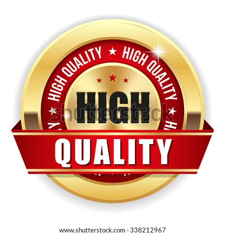Gold high quality badge with red ribbon on white background