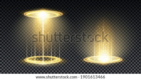 Gold hologram portal. Magic fantasy portal. Magic circle teleport podium with hologram effect. Vector gold glow rays with sparks on transparent background