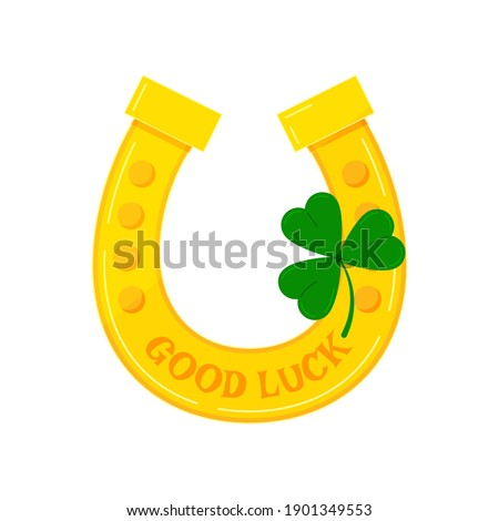 Gold horseshoe with clover icon isolated on white background. Lucky irish celtic symbol with tree leaves clover - Good luck and Saint Patrick's Day concept. Flat cartoon style vector illustration Foto stock ©