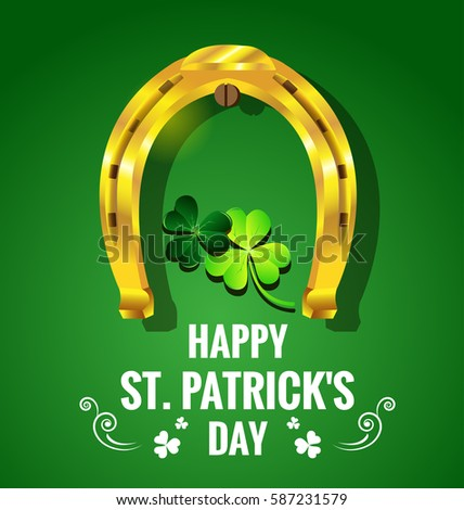 gold horseshoe with shamrock