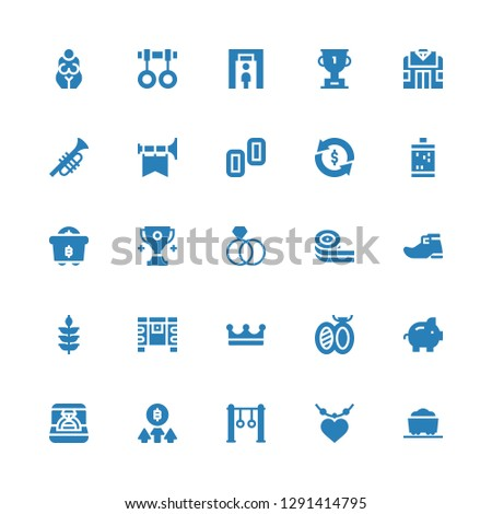 gold icon set. Collection of 25 filled gold icons included Coal, Pendant, Rings, Bitcoin, Ring, Piggy bank, Brooch, Crown, Chest, Wheat, Leprechaun shoe, Belts candy, Trophy, Mining