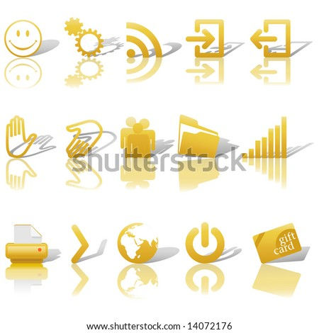 gold icon symbol set 2  printer