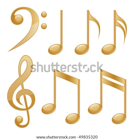Gold icons of a music notes. Vector illustration.