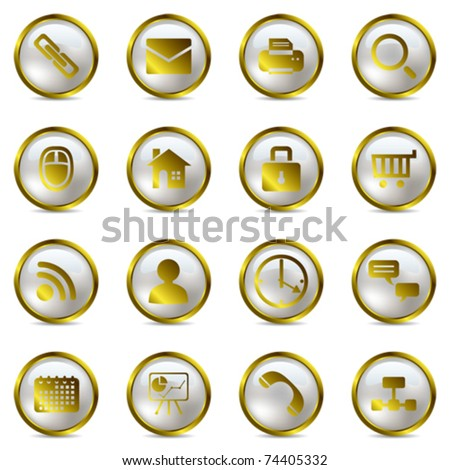 Gold icons set. Illustration vector.