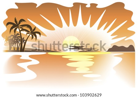 Gold images of tropical seascape at sunset
