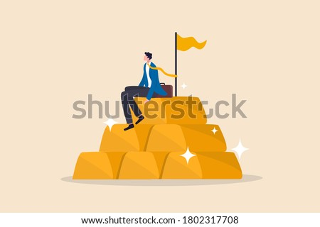 Gold investment, safe haven in financial crisis or wealth management and asset allocation concept, businessman success wealth manager, trader or rich investor sitting on stack of gold bar bullion. Сток-фото ©