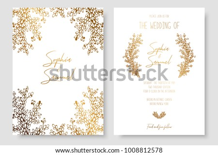 Gold invitation with floral branches. Gold cards templates for save the date, wedding invites, greeting cards, postcards #1008812578