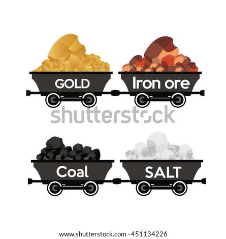Gold,Iron ore,coal,salt wagons
