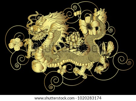 gold japanese dragon for