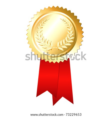 Gold Label With Ribbons, Isolated On Black Background, Vector Illustration