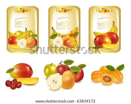 Gold labels with different sorts of fruit. Vector.