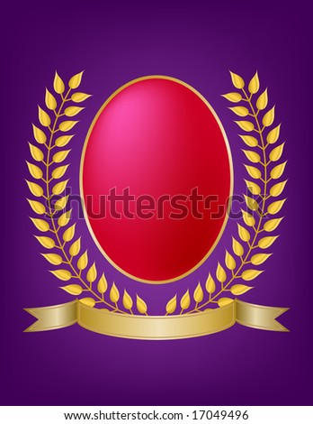 Gold laurel leaf wreath emblem with ribbon banner surrounds rich red oval jewel on regal purple background. Good for product label use.