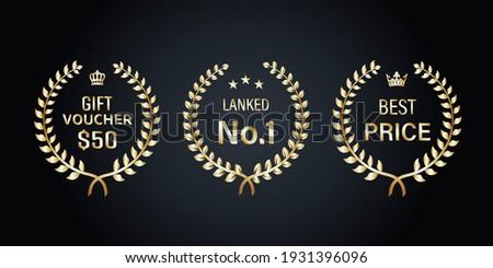 Gold Laurel Wreath Labels Vector Illustration