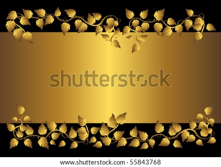 Gold leaves and banner on the black.vector illustration.  Welcome! More similar images available.