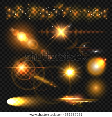 gold light effect set of