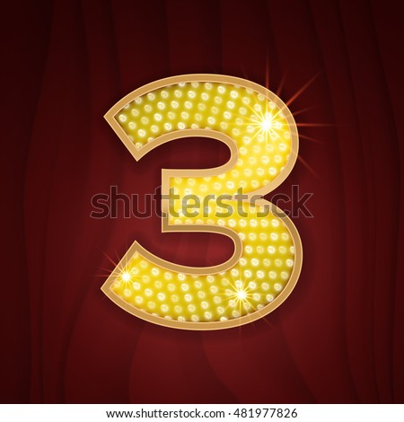 Gold light lamp bulb font number 3 Three. Sparkling glitter design in style of vegas casino, burlesque cabaret and broadway show decoration. Shining numbers symbols of alphabet set for light board