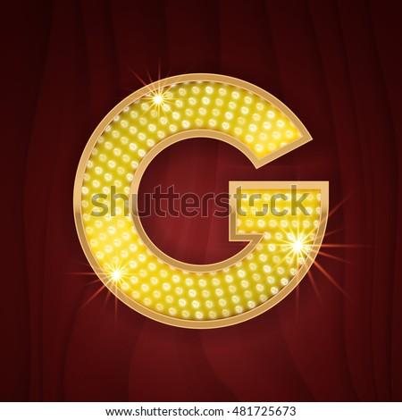 Gold light lamp bulb letter G. Las Vegas Casino sparkling lightning glittering alphabet.