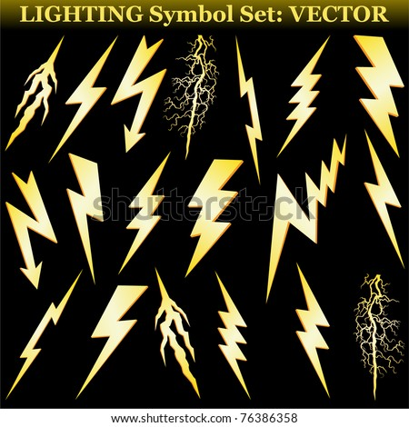 gold lightning set isolated on