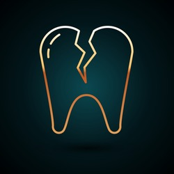 Gold line Broken tooth icon isolated on dark blue background. Dental problem icon. Dental care symbol.  Vector Illustration