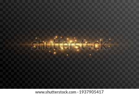Gold line of light. Magic glow, particles of light, sparks. Glowing line png. Vector image.