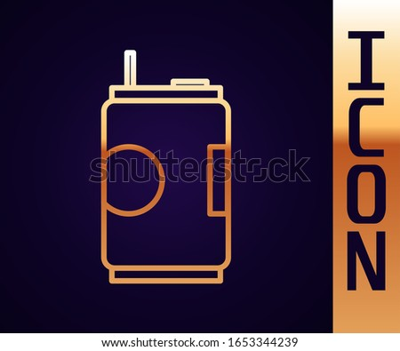 Gold line Soda can icon isolated on black background.  Vector Illustration