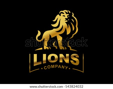 gold lion logo   vector