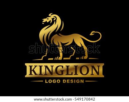 Gold lion logo - vector illustration, emblem design on black background.