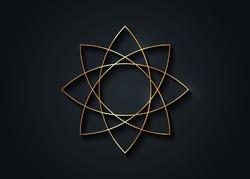 Gold lotus flower mandala, Seed of life symbol Sacred Geometry. Logo icon  Geometric mystic mandala of alchemy esoteric Flower. Vector golden line art divine meditative amulet isolated on black