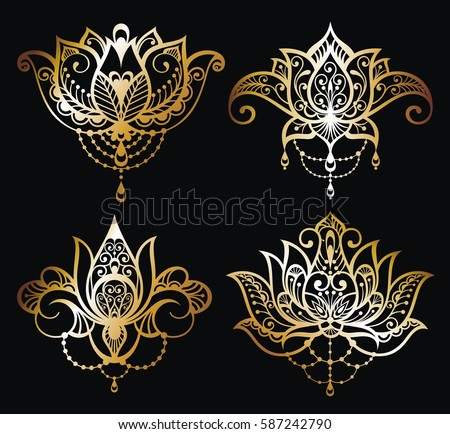 Lotus flower download free vector art stock graphics images gold lotus logo vector art set designctor ornamental lotus flowers mightylinksfo