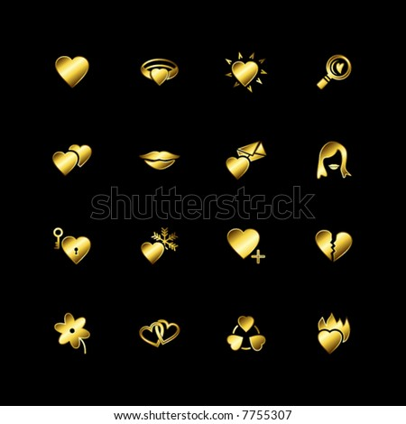Gold love icons - stock vector