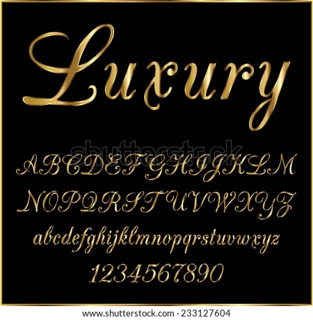 Royalty free Gold elegant font Stock