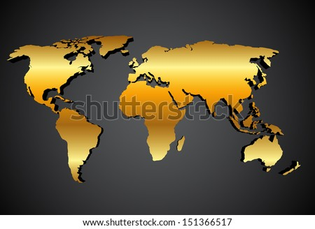 gold map over black background