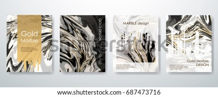Gold marble template set, artistic covers design, colorful texture, realistic fluid backgrounds. Black, white Trendy pattern, graphic poster, watercolor geometric brochure, cards. Vector illustration.
