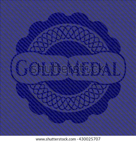 Gold Medal badge with denim texture