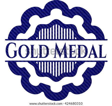 Gold Medal badge with jean texture