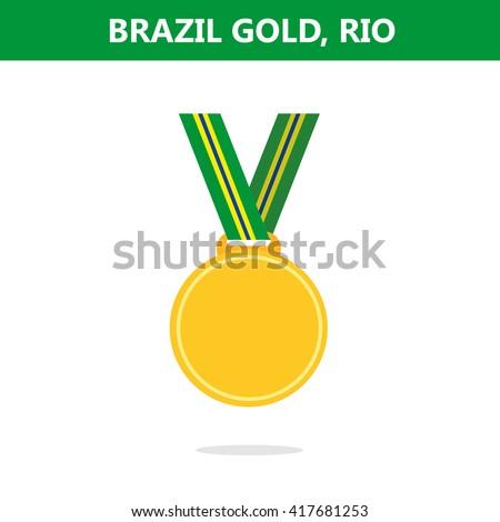Gold medal. Brazil. Rio. Olympic games 2016. Vector illustration.