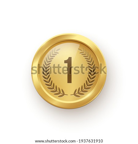 Gold medal. Champion trophy award with number and laurel vector illustration. Prize in sport for winning first place in competition on white background.