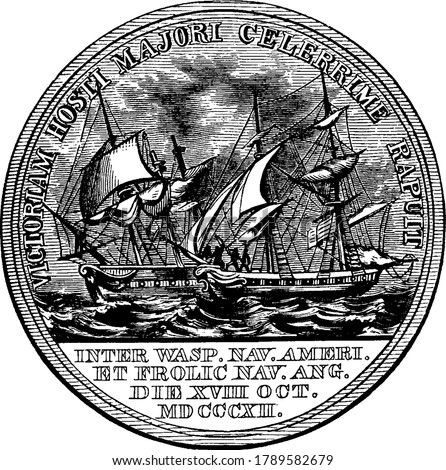 Gold medal engraved with writings and image of pirates and people, awarded to an officer, Commodore Jacob Jones, in the United States Navy, vintage line drawing or engraving illustration.