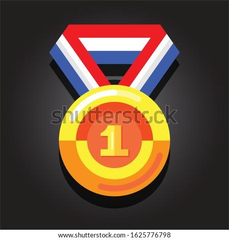 gold medal    flat design