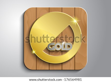 Gold medal on wooden icon #176564981