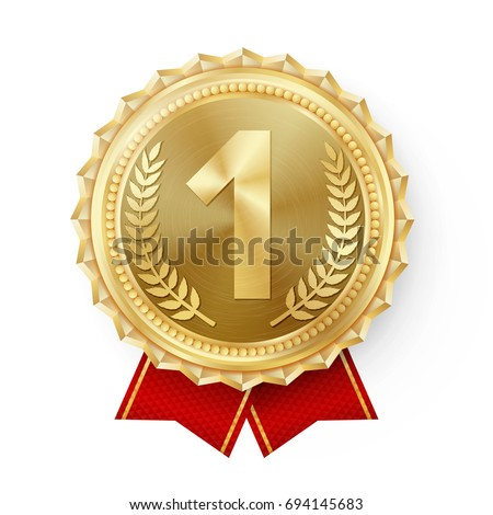 Gold Medal Vector. Golden 1st Place Badge. Sport Game Golden Challenge Award.  Red Ribbon. Isolated. Olive Branch. Realistic illustration.