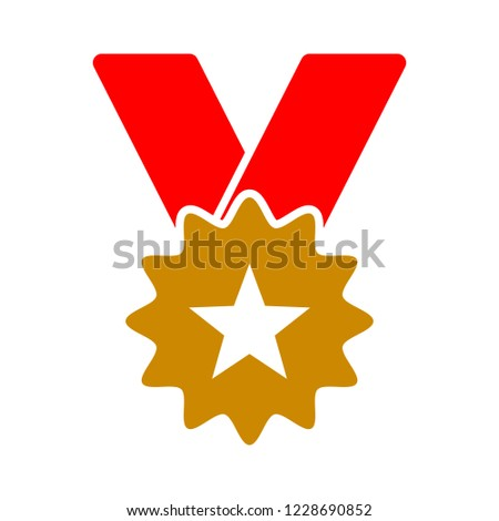Gold medal with ribbon for first place. Trophy, winner award isolated on white background. Golden badge icon. Sport, business achievement, victory concept. Vector illustration. Flat style design