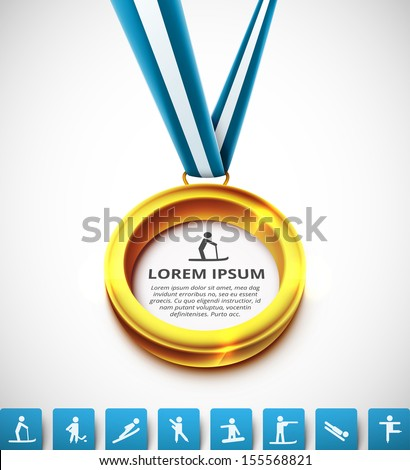 Gold medal with sports icons. Illustration contains transparency and blending effects, eps 10