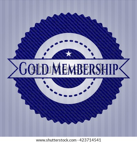 Gold Membership emblem with denim high quality background