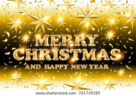 gold Merry Christmas and Happy New Year black shine background with decoration on golden light stars confetti. Vector illustration. Xmas card. art #761739289
